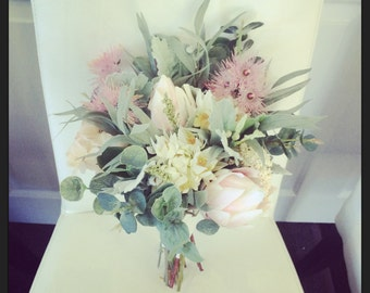 Australian Made, Native Australian Pastel Soft Bridal Bouquet, Protea, Eucalyptus, Dusty Miller, Blushing Bride