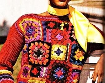 Vintage Patchwork Granny Squares Sweater - Vintage Crochet Pattern - PDF Instant Download - Pullover Squares Sweater - Digital Pattern