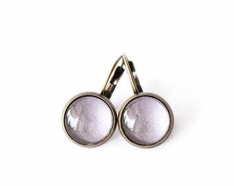 Dangle Earrings, Handmade Glass Earrings, Light Purple Leverback Earrings, Hand painted Jewelry, Gift For Her Under 30, Christmas Gift