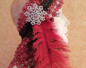 Gatsby Goddess Red Silver & Black Illusion Jewel Mesh Crystal Brooch Bridal Headpiece Wedding Party Costume