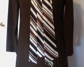 Vintage 1960s Mid Century Mod Womens Chocolate Brown Dress and Jacket Set with Striped Pussybow Size Small