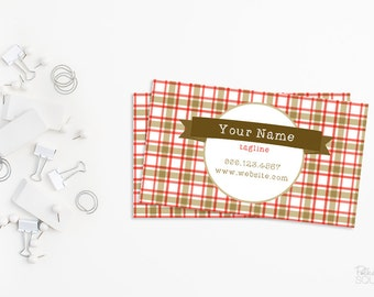 Printable business card design Plaid and burlap business card design Printable Country Masculine Red and brown