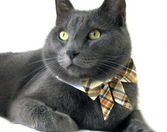 Dog/Cat brown plaid bow on a shirt style collar