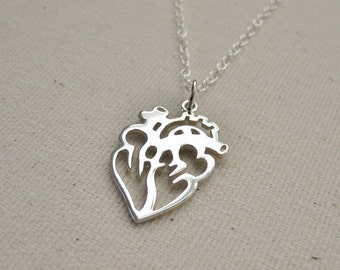 Cutout Anatomical Heart Necklace Sterling Silver - Love Jewelry