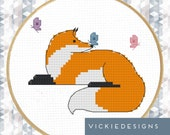 Fox Butterflies Modern Cross Stitch Pattern PDF