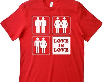 Love Is Love Lesbian T Shirt Gay Pride Parade LGBT Rights Gay Supporter Ally Marriage Equality