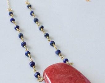 SALE! Red quartz pendant 14k gold wire wrapped lapis 14k gold chain necklace