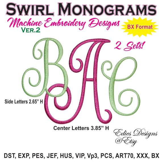 Swirl monograms machine embroidery fonts