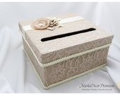 Lace Card Box / Wedding Box / Money Card Box / Gift Holder in Champagne and Ivory with Beautiful Handmade Flowers