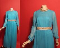 Vintage 1960's Space Age Aqua Chiffon One Piece Pantsuit 60's Womens Outfit - M