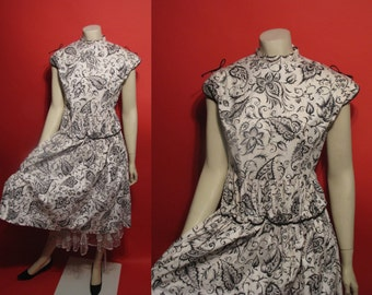VIntage 1950's Paisley Party Dress 50's Black and White Crinoline A-Line Rockabilly Swing Womens Dress - S