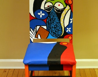 Picasso Seated Woman with Book upscaled chair painted by Artist Todd Fendos