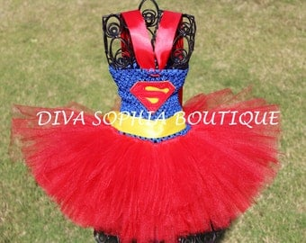Super-man Tutu Dress/ Super-girl Tutu Dress/ Costume