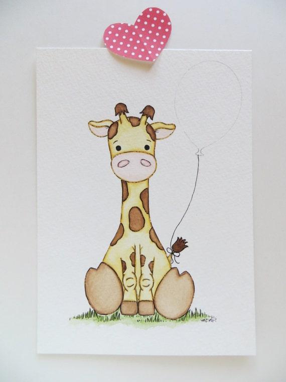 giraffe und ballon aquarell malen kinderzimmer von waterblooms. Black Bedroom Furniture Sets. Home Design Ideas