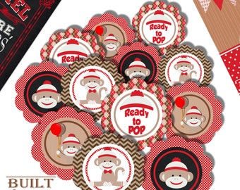 Sock Monkey Cupcake Toppers/ Baby Shower/ Birthday Party/ Digital Download/ Instant Download/ Baby Monkey