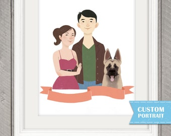 Custom Couple Portrait, Cutout WEDDING Illustration, 8.5 x 11 print, One FREE Pet, Pet Portrait, Perfect for an Anniversary or Wedding Gift.