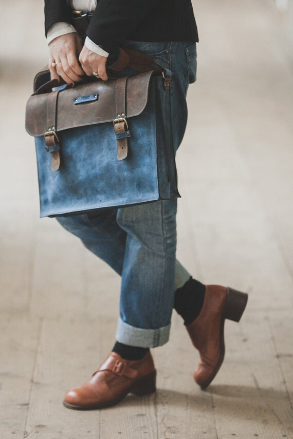 Blue leather Briefcase,Full Grain Blue Leather Bag, Leather Bag, blue Leather Briefcase, Bag for files, Unisex Leather Bag, Man Bag