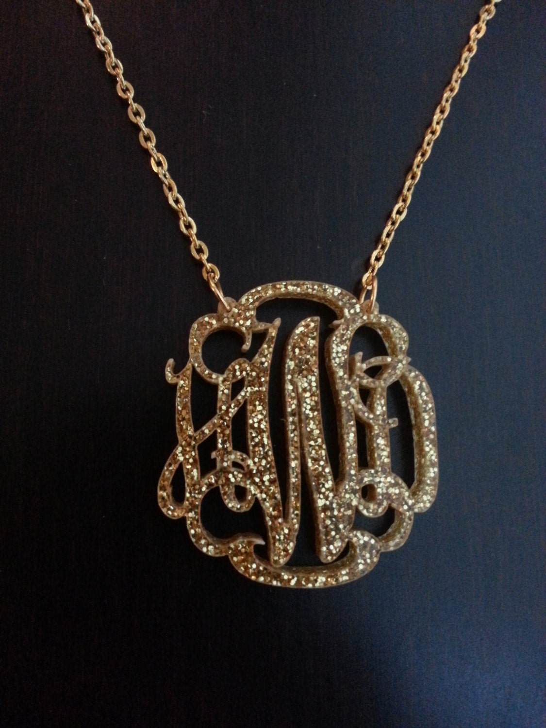Glitter acrylic monogram necklace with circle or script font