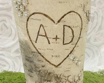 Personalized Vase  Rustic Chic Wedding Centerpiece