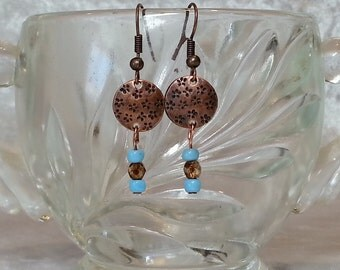 Boho Gypsy Turquoise and Copper Earrings -