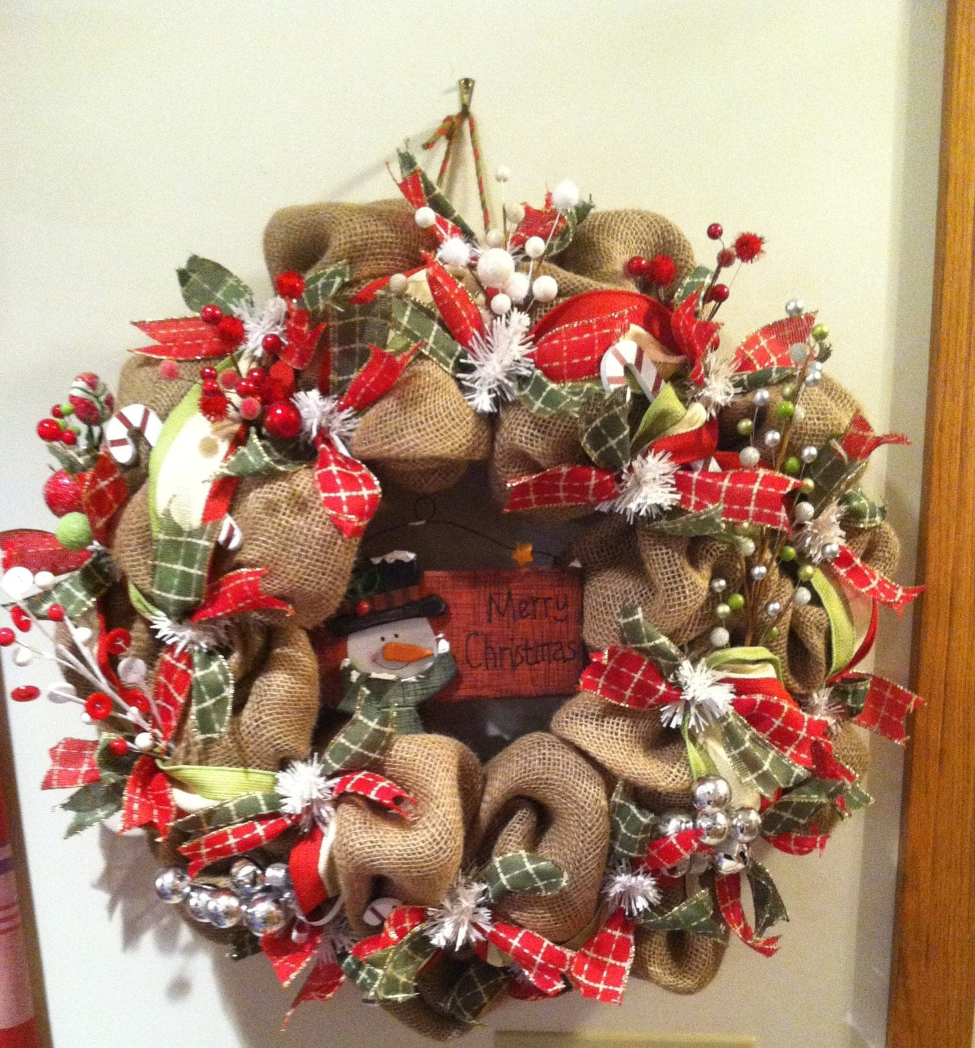 Snowman wreath christmas wreath snowman burlap by for Snowman made out of burlap