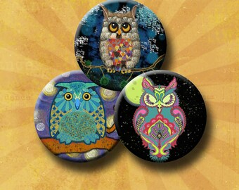 NIGHT OWLS -  Digital Collage Sheet 1 &1.5 inch round images for bottle caps, pendants, round bezels, etc. Instant Download #214.