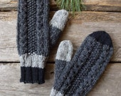 Wool mittens-Knitting-Canadian wool-Natural fibers-Charcoal black grey