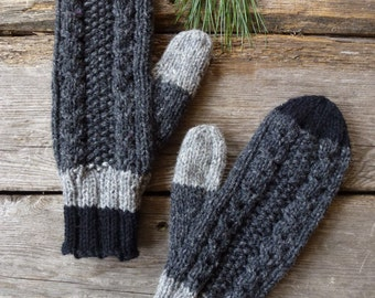 Wool mittens men, women, mittens hand knitted. Wool from Canada grey, Winter accessories