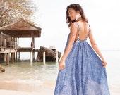Ladies Swing Dress - Cobalt Blue Mini Leaf Print Dress with patterned Straps - Uluwatu Dress