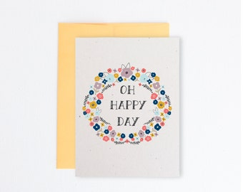 Vintage floral recycled greeting card - Oh Happy Day - Wedding card - Thinking of you card - Thank you card Item # 204