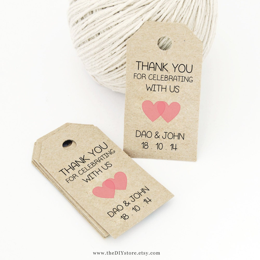How To Make Wedding Gift Tags : Favor Tag Template Printable SMALL Double Heart Design