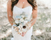 Rustic Dried Bridal Bouquet with Sola Flowers, mixed dried flowers and wheat sprigs