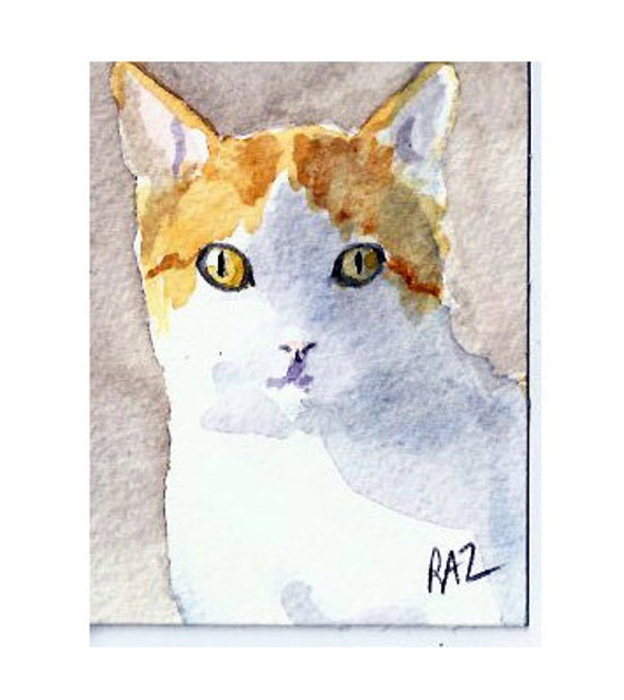 ACEO, Original Watercolor Painting of a ginger cat in the sunshine, signed by artist Robin Zebley