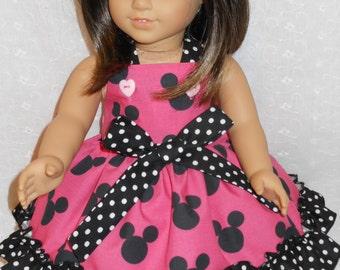 Doll Dress,  Minnie Mouse Dress, Disney American Girl Doll Minnie Mouse Dress, Hot Pink Minnie Mouse Dress, Fits 18 inch and 15 inch dolls