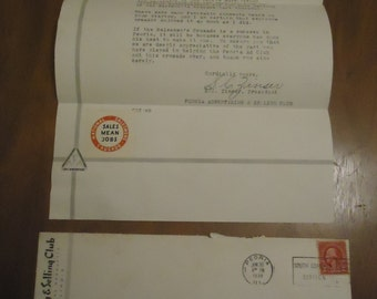 Peoria Advertising Club Correspondence 1938 Peoria Illinois Paper Ephemera Vintage Letter