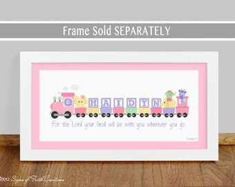 """Girls Pink Train with Bible Verse - 10x20"""" PRINT - Baptism, Christening, Baby Gift, Adoption Gift - Personalized Wall Art Decor for Nursery"""