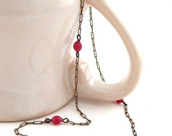 Antique Choker Necklace, 1930's Delicate Brass Chain Necklace with Pink Art Glass Beads, Vintage Brass Choker Necklace