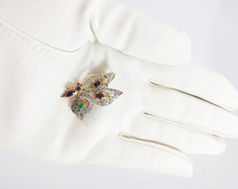 Vintage 14K Butterfly Brooch Pendant Gold Butterfly TREMBLER BROOCH Pendant Diamonds Rubies Sapphires Emeralds  Rare Tremblant Quiver
