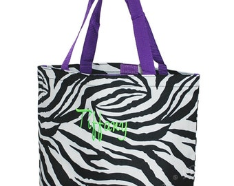 Black Friday Zebra Tote with Purple Trim- Velcro Closure- with free embroidery