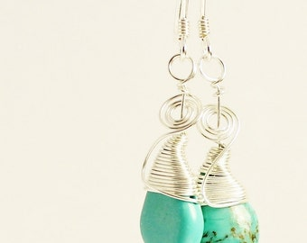Turquoise earrings, sterling silver swirl wire wrapped artisan jewelry with blue stone dangles
