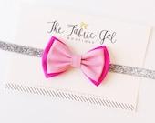 Baby Fabric Bow Headband clip- Pink Bow on Silver Sparkle Elastic- Glitter Elastic Headband