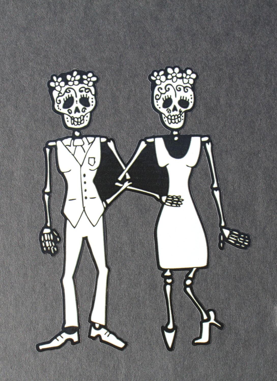 Day Of The Dead Art Lesbian Couple Car Sticker 70