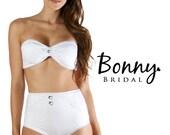 Bridal Bikini Bandeau Top with High Waisted Shorts -Swimwear -Bikinis -Bathing suit -Scrunch Butt