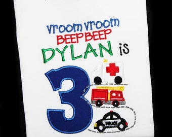 Transportation Birthday Firetruck, Police Car, Ambulance Custom Embroidered Personalized Birthday Shirt or Bodysuit-Pick Age and Colors