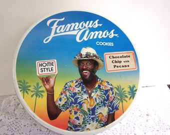 Cookie Tin Famous Amos  1975, Cookie Tin, Serving Bowl, Craft Container, Jewelry Box, Button Tin, Free Shipping