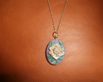 Gold Tone Rose on Purple Polymer Clay Pendant