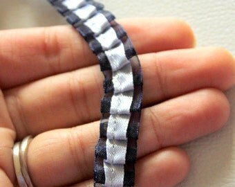 Pleated Blue Satin And Tissue Ribbon Trim Border 14mm wide - 041203L10