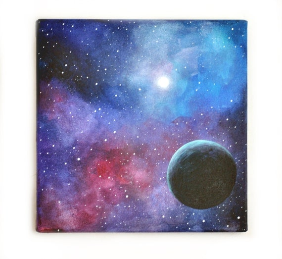Items similar to original painting art ooak acrylic for How to paint galaxy