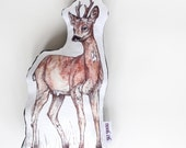 Deer Cotton and Velvet Animal Shaped Pillow