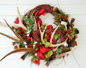 Popular items for antler wreath on etsy for Antler christmas wreath